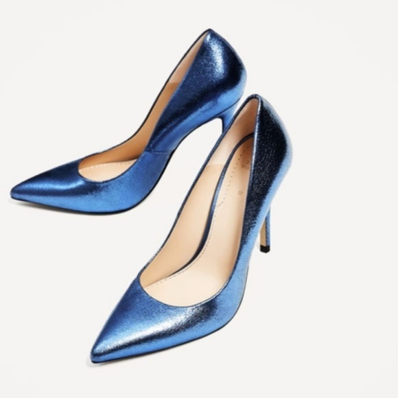 45f4318c2f3 Zara Metallic High Heels Shoes Blue 1230